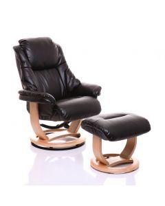 Emperor Recliner Chair in Black Leather